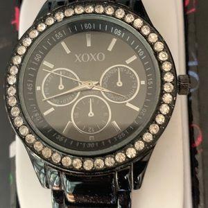XOXO black watch w/rhinestones